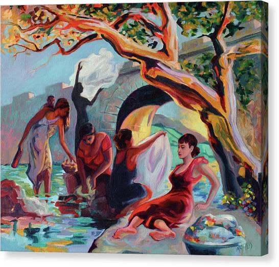The Washerwomen / Las Lavanderas Canvas Print by Ben Morales-Correa