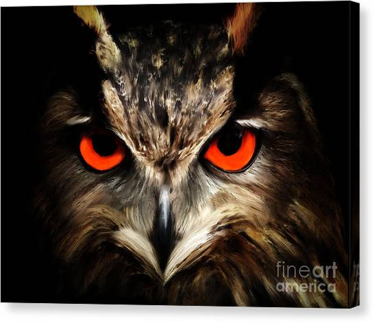 The Watcher - Owl Digital Painting Canvas Print
