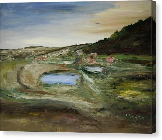The Water Hole Ranch Canvas Print by Edward Wolverton