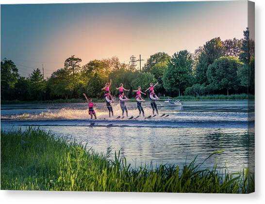 Water Skis Canvas Print - The Water Skier  by Art Spectrum