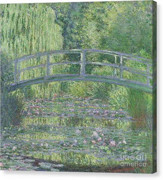 Japanese Garden Canvas Print - The Waterlily Pond by Claude Monet