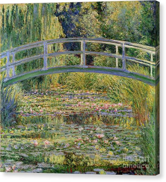 Lilies Canvas Print - The Waterlily Pond With The Japanese Bridge by Claude Monet