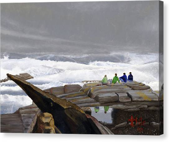 Canvas Print featuring the painting The Wave Watchers by Dominic White
