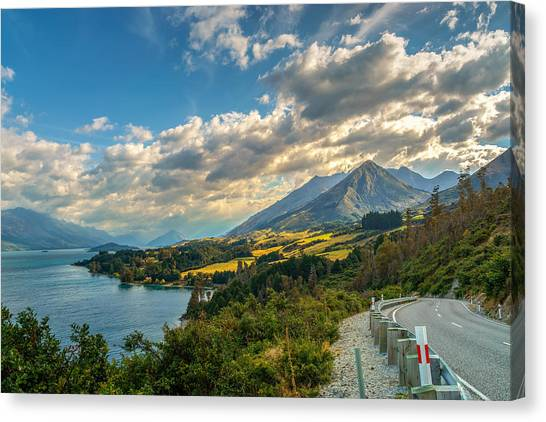 Roadway Canvas Print - The Way To Glenorchy by James Udall