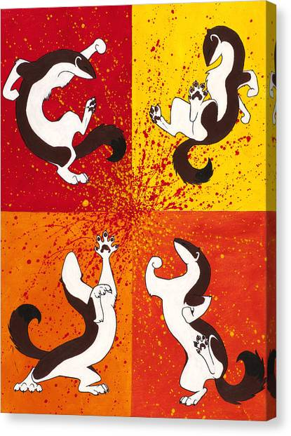 Weasels Canvas Print - The Weasel Dance by Beth Davies