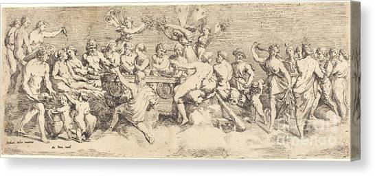 Canvas Print - The Wedding Feast Of Cupid And Psyche by Fran?ois Perrier After Raphael