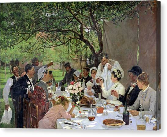 Dinner Table Canvas Print - The Wedding Meal At Yport, 1886 by Albert-Auguste Fourie
