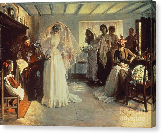 Bride Canvas Print - The Wedding Morning by John Henry Frederick Bacon
