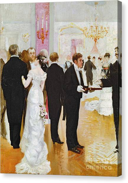 Couple Canvas Print - The Wedding Reception by Jean Beraud