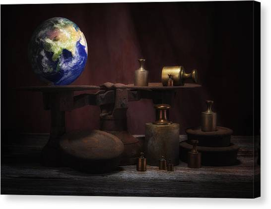 Weights Canvas Print - The Weight Of The World by Tom Mc Nemar