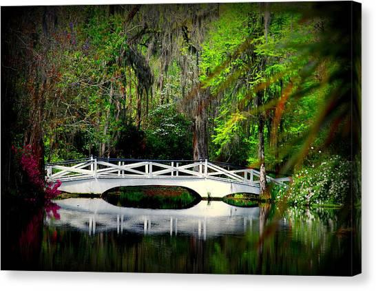 The White Bridge In Magnolia Gardens Sc Canvas Print