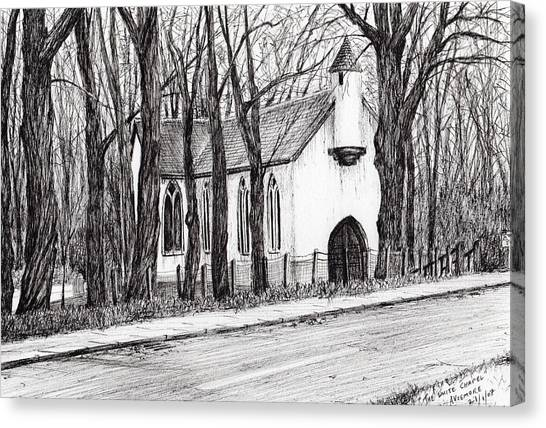 Pen And Ink Drawing Canvas Print - The White Chapel by Vincent Alexander Booth