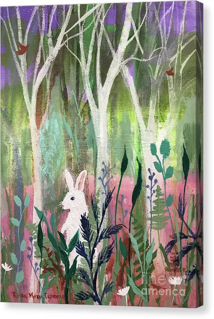 Canvas Print featuring the painting The White Rabbit by Robin Maria Pedrero