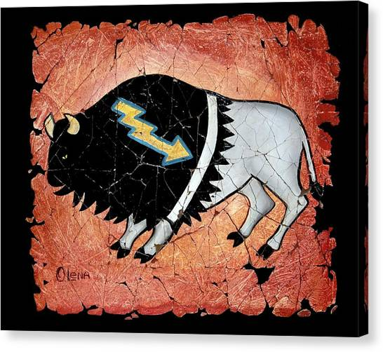 The White Sacred Buffalo Fresco Canvas Print