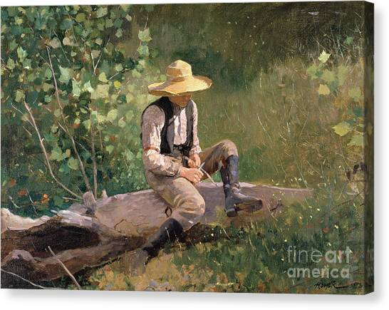 Winslow Canvas Print - The Whittling Boy by Winslow Homer