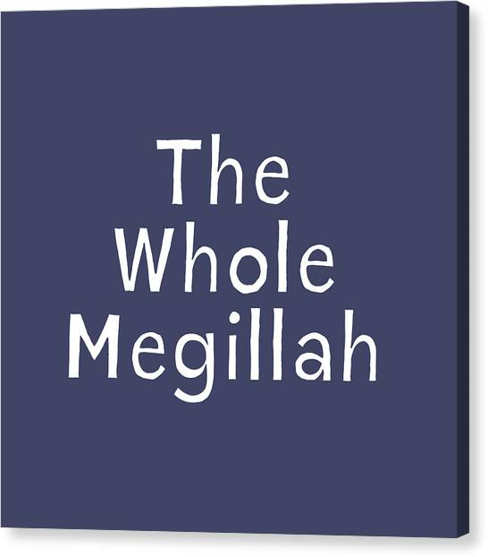 Navy Blue Canvas Print - The Whole Megillah Navy And White- Art By Linda Woods by Linda Woods