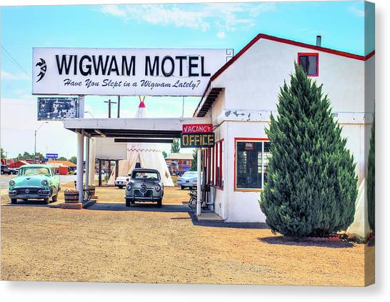 Historic Route 66 Canvas Print - The Wigwam Motel - Historic Route 66 - Holbrook Arizona by Gregory Ballos