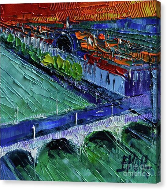 Wilson River Canvas Print - The Wilson Bridge - Modern Impressionist Stylized Cityscape by Mona Edulesco