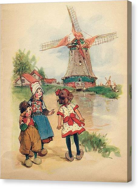 The Windmill And The Little Wooden Shoes Canvas Print