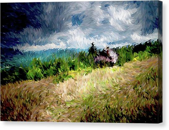 Brown Canvas Print - The Winds Come As Night Falls Impressionism by Georgiana Romanovna