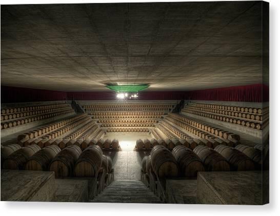 Wine Barrels Canvas Print - The Wine Temple by Marco Romani