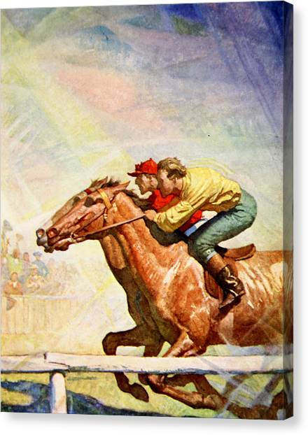Finish Line Canvas Print - The Winning Post by Newell Convers Wyeth