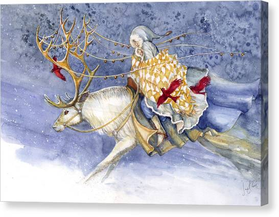 Reindeer Canvas Print - The Winter Changeling by Janet Chui