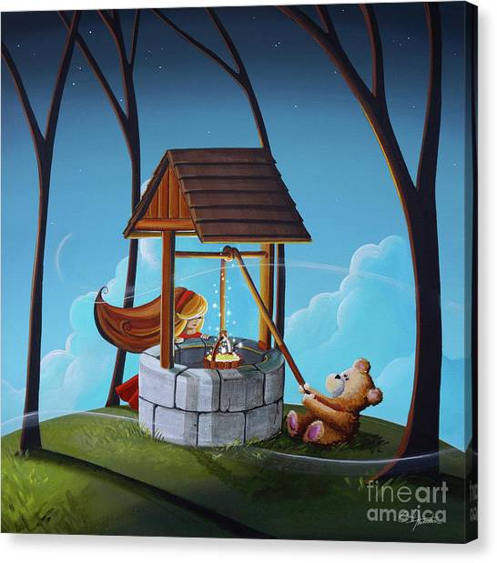 Teddybear Canvas Print - The Wishing Well by Cindy Thornton