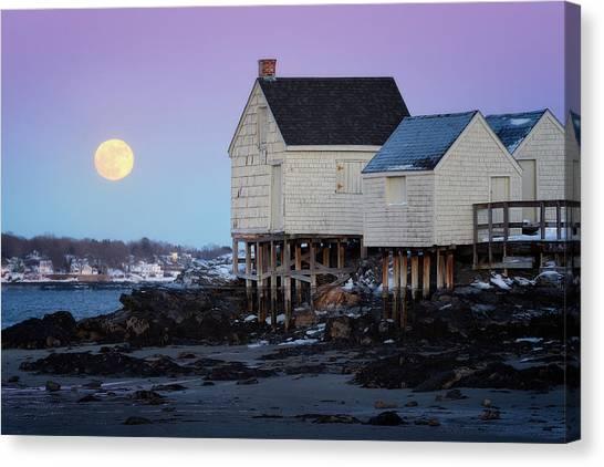 Wolf Moon Canvas Print - The Wolf Moon Over Willard Beach by Jeff Bazinet