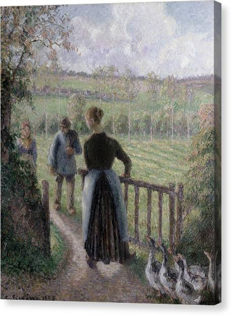 Camille Canvas Print - The Woman With The Geese by Camille Pissarro