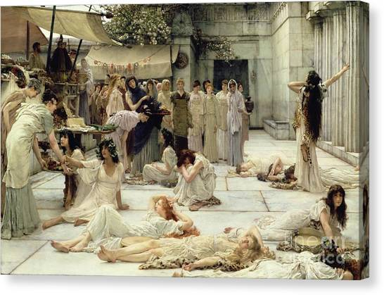 Tambourines Canvas Print - The Women Of Amphissa by Sir Lawrence Alma-Tadema