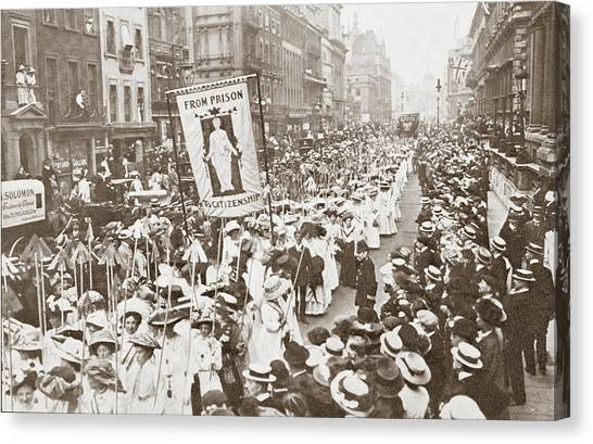 Womens Rights Canvas Print - The Women S Franchise Demonstration by Vintage Design Pics