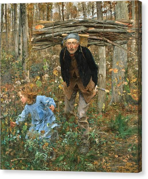 Canvas Print featuring the painting The Wood Gatherer by Jules Bastien-Lepage