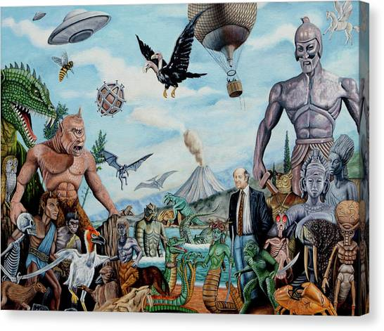 Pterodactyls Canvas Print - The World Of Ray Harryhausen by Tony Banos