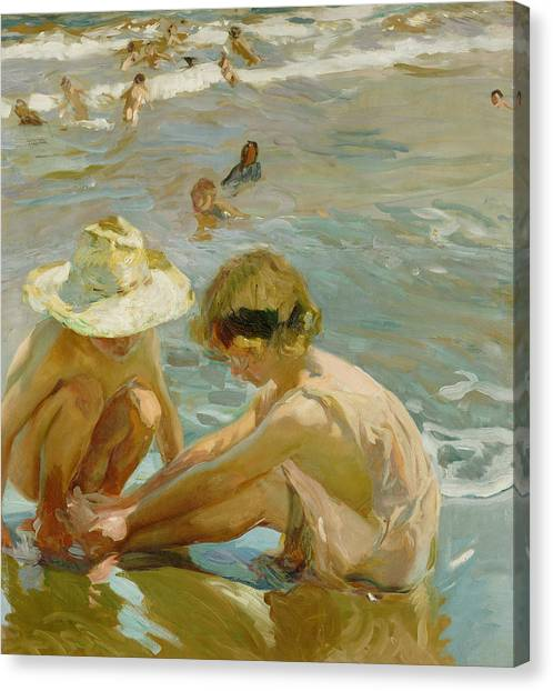 Sand Castles Canvas Print - The Wounded Foot by Joaquin Sorolla y Bastida