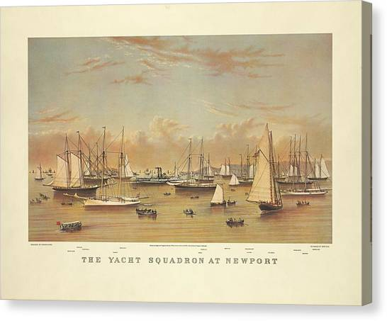 The Yacht Squadron At Newport Canvas Print