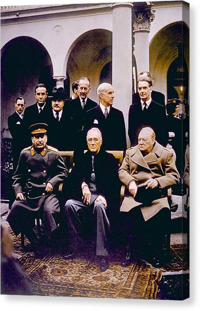 Jt History Canvas Print - The Yalta Conference, Seated Joseph by Everett