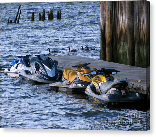 Jet Skis Canvas Print - The Yellow Jet Ski by Colleen Kammerer