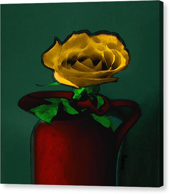 The Yellow Rose Painting Canvas Print