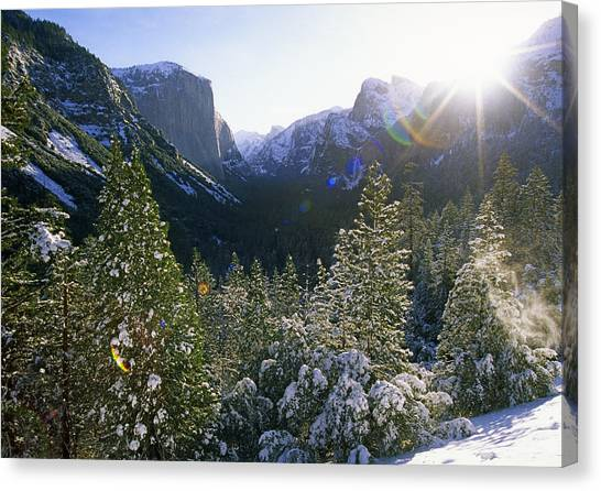 The Yosemite Valley In Winter Canvas Print