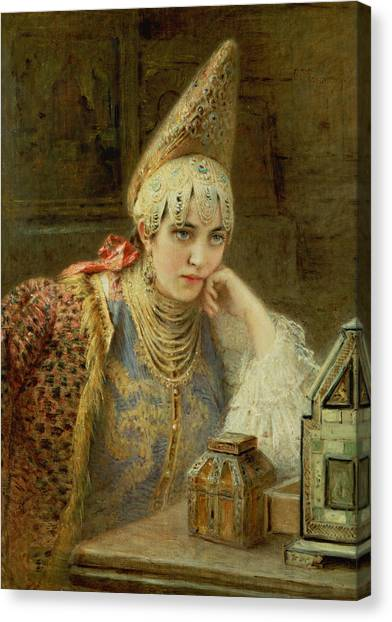 Wedding Gown Canvas Print - The Young Bride by Konstantin Egorovich Makovsky