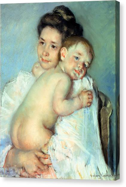Nude Mom Canvas Print - The Young Mother by Mary Stevenson Cassatt