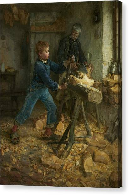 African American Artist Canvas Print - The Young Sabot Maker by Henry Ossawa Tanner