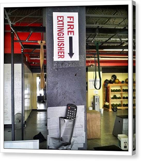 Workout Canvas Print - #thebox  #fireextinguisher #gym by Woof Glaser