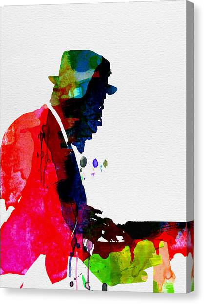 Classical Guitars Canvas Print - Thelonious Watercolor by Naxart Studio