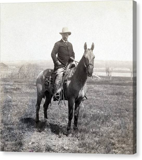 Theodore Roosevelt Canvas Print - Theodore Roosevelt Horseback - C 1903 by International  Images