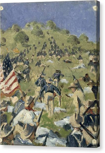Theodore Roosevelt Canvas Print - Theodore Roosevelt Taking The Saint Juan Heights by Vasili Vasilievich Vereshchagin