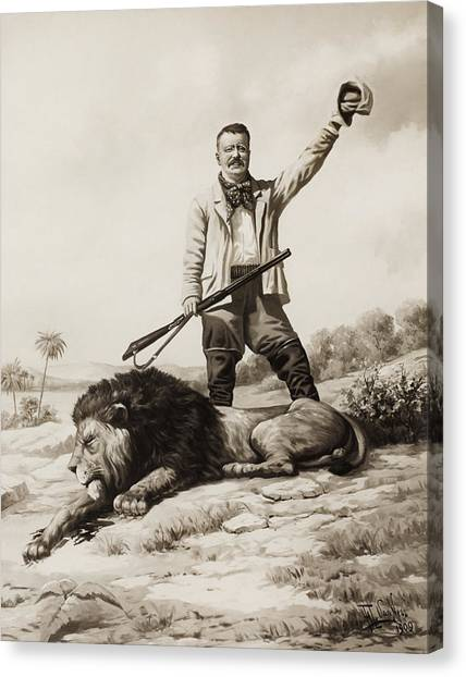 Theodore Roosevelt Canvas Print - Theodore Roosevelt With Hunted Lion  by War Is Hell Store