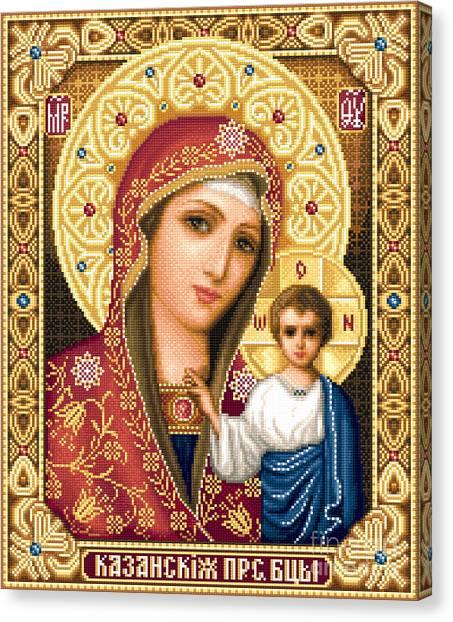 Orthodox Art Canvas Print - Theotokos Of Kazan by Stoyanka Ivanova