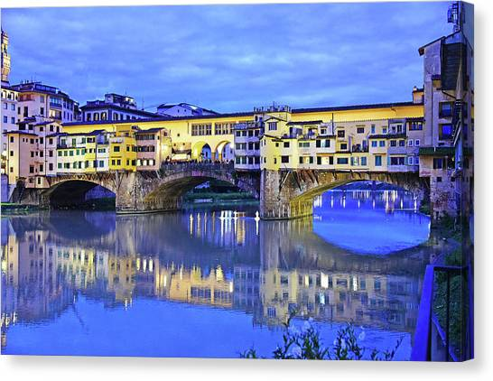The Uffizi Gallery Canvas Print - There's A Light On The Bridge by Evan Peller